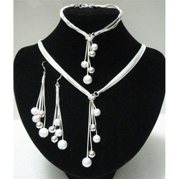 Hot Selling 925 Silver Jewelry Sets High Quality Silver Bead Jewelry Set For Women Wholesale Necklace&Bracelet&Earrings