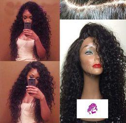 Part entière en Ligne-Raie sur le côté profond vague Curly Cheveux Lace Wig Pérou Vierge Dentelle cheveux avant Perruques pleine perruque de dentelle Grande Stock