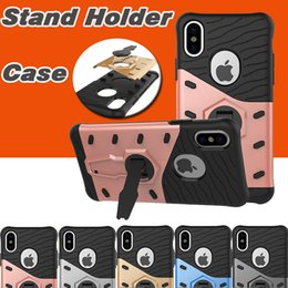 360 Degree Rotary Armor Case TPU+PC Hybrid Cases Shockproof Stand Holder Kickstand Cover For iPhone X 8 7 Plus 6 6S Samsung Note 8 S8 Plus