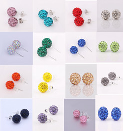 15 Colors Inlaid Rhinestone Round Shape Shining Earrings Girlfriends Gifts Travel & Shopping Ornaments Festival Earrings on Wholesale