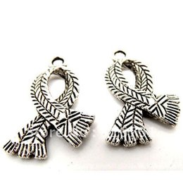 Fashion Jewelry Charms 40 Silver Tone Ribbon Charms Pendants 23x16mm(W00194 X 1) pendant shade pendant mp3