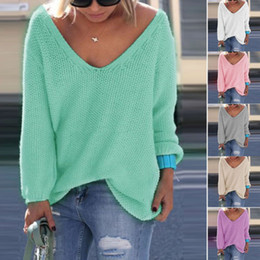 Wholesale HOT SALE Fashion Women V Neck Casual Loose Batwing Sleeves Sweater Autumn Spring Smart Jumper Pullover