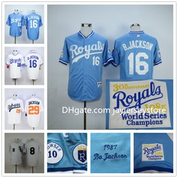 Wholesale Bo Jackson Jersey Kansas City Royals Baseball Turn Back Chicago White Sox Auburn Blue White Cooperstown