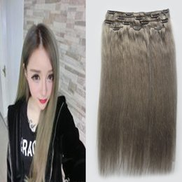 Wholesale 8A ash Blonde Hair Extensions Brazilian Straight Clip ins african american Grey Hair Clip g Human Clip Hair Extensions