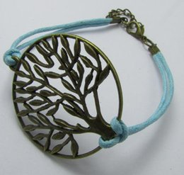 Wholesale Antique Silver bronze Tree of Life Pendants Bracelets Wax Cords Unisex Women drop shipping custom any themes