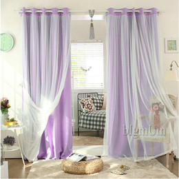 Wholesale New Arrival Lace Curtains Solid Blackout Curtains White Tulle Elegant Fairy Curtains Ready Made Custom made Yellow Pink Green Brown