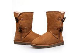 Wholesale classic sheepskin boot Australian real sheepskin lambskin double face winter snow boot long wool women shoes button boot