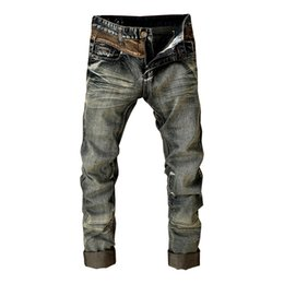 Wholesale Mens Retro washed Biker jeans Fashion Straight joggering pants acid wash casual zipper jeans Euro Stylish MA077