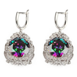 Copper Rhodium Plated Romantic Earrings Promotion Rainbow Fire Mystic Cubic Zirconia MN3596 Shinning Favourite Best Sellers The new product