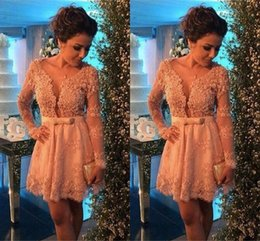 Short Homecoming Dresses Long Sleeves 2017 Champagne Lace With Ribbon Sash Sexy V-neck Party Gowns Cocktail Dress Cheap Elegant