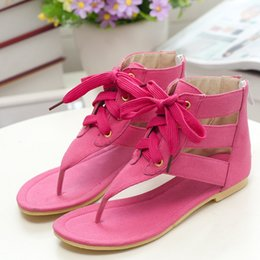 Candy colored shoes and a toe hollow cross strap zipper casual cute size sandals