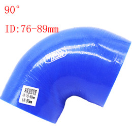 """Blue Universal ID:76mm-89mm ID:3""""-3.5"""" Silicone 90 Degree Elbow Reducer Turbo Pipe Hose Air Intake Pipe Intercooler silicone pipe Universal"""