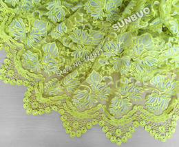 Wholesale Special unique Lemon yellow Gold beaded French tulle lace fabric with beautiful guipure lace borders soft high quality