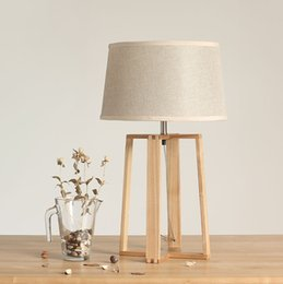 Wholesale Square Bedside Lamp - Northern Europe Table Lamp Square Solid Wood Table Lamp Simple Bedroom Lamp Bedside Lamp