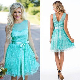 Turquoise Short Lace Bridesmaid Dresses 2016 Cheap Country Jewel Backless With Sash Knee Length Maid Of Honor Gown Custom Made EN80921