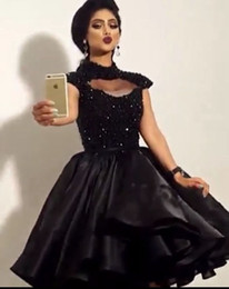 2016 Little Black Short Cocktail Party Dresses High Neck Beaded Sexy Knee Length Women Formal Prom Dress Gowns Custom Made