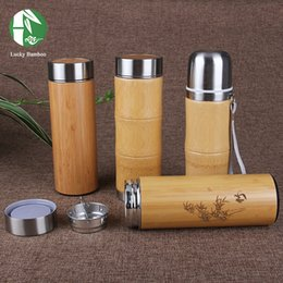 Wholesale ml Bamboo travel Thermos Cup Stainless Steel Bottles for water Vacuum Flasks mug coffee insulated keep warm tea cup thermo