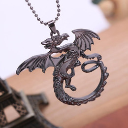 Wholesale Game Thrones jewelry alloy Targaryen Dragon pendant necklace vintage Song of Ice and Fire movie jewelry