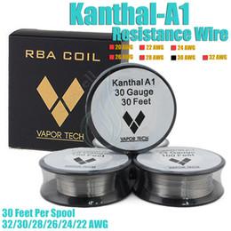 Wholesale Anthentic VAPOR TECH Kanthal A1 Resistance Wire Nichrome Feet awg Gauge vape mods RDA ecigarette atomizer RBA Vapor DIY pre coi