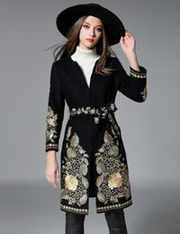 Wholesale 2016 Winter New cashmere coats Heavy embroidered gold thread embroidery coats Soft Comfortable Breathable sizes black