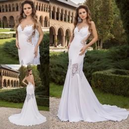 2016 Mermaid Wedding Dresses Backless Side Cutaways Bridal Gowns Sexy Spaghetti Straps Beach Wedding Gowns with Appliques