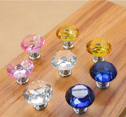 Modern Multi-color K9 Crystal Glass Diamond Furniture Handles Hardware Drawer Wardrobe Kitchen Cabinets Cupboard Door Pull Knobs Wholesale