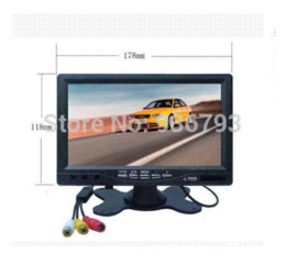 Lcd moniteur d'affichage vidéo en Ligne-Hot Sale 7 pouces TFT LCD DC 12V 800x480 voiture Vue arrière moniteur avec 2 canaux d'entrée vidéo pour DVD VCD