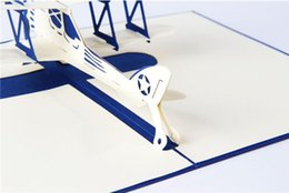 Wholesale Greeting Cards d handmade pop up greeting cards plane design thank you cards airplane Festive cards suit for friend kids