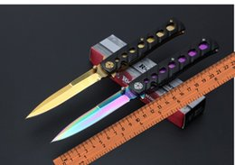 Wholesale Tyrant gold Benchmade butterfly C059 knives aluminum alloy handle material tactical survival knife outdoor hunting tools