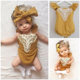 6M-24M Baby Yellow Sleeveless summer Rompers Toddler Girls Patchwork Bandage Rompers Newborn Backless Lace Up Jumpsuit