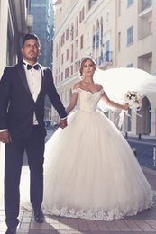 2017 Said Mhamad Elegant Lace Wedding Dresses Appliques Off-the-Shoulder Tulle Bridal Ball Gowns Wedding Gowns Custom Made