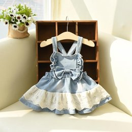 Wholesale Lace Denim Toddler Dress - 2016 New Toddler Kids Girls Denim Overall Dress Lace Frilled Sweet Kids Fall Fashion Clothing 5ocs lot Wholesale