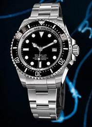 Luxury 44mm Deep SeaDweller Black Ceramic 116660 Automatic Date Watch Stainless steel Bracelet Men's Sport Wrist Watches