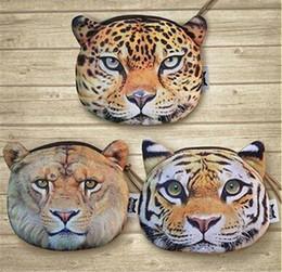 100PC 3 designs Tiger leopard lion purse 3D Printing coin Mini cute Animal's Head Shape Bag Wallet Coin Purses Billfold Burse D640