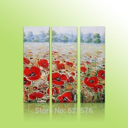 Wholesale Hand painted modern wall art picture living room home decor abstract Blooming corn poppy field flower oil painting on canvas