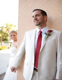 Wholesale-Custom Made Beige Men Suits Tuxedos For Men Notched Lapel Wedding Suits For Men Groomsmen Suits Two Button (jacket+pants+tie)