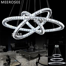 LED Crystal Ring Pendant Light Crystal Light Different Size Led Crystal Hanging Lamp Lustre for Home Decoration Hotel MD8825