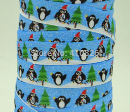 Wholesale ribbon OEM inch Christmas Style printed folded over elastic FOE yds roll