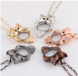 New arrival 5colors floating locket charms can be open owl glass pendant diy jelwery necklacependant fashion design hot sale