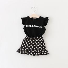 Wholesale 2016 Summer Children Outfits Clothing Suit Kids GIRL LONDON Black T Shirt Tops Tee Dots Ruffles Skirts Girls Sets