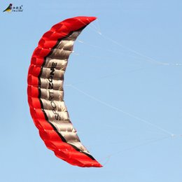 Wholesale-Free Shipping High Quality 2.5m Red Dual Line Parafoil Kite With Control Bar Power Braid Sailing Kitesurf Rainbow Sports Beach