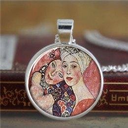 Wholesale 10pcs Klimt necklace two beautiful women Artist necklace Print Photo Symbolism Art necklace