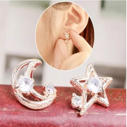 Wholesale The new moon for diamond earrings earrings silver diamond earrings Bridal Accessoriescheap shipping Bridal Jewelry star two different models