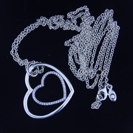 New Necklaces & Pendants 925 Sterling Silver Jewelry Heart to Heart Pave CZ Choker Necklace 90 cm For Women Fashion Jewelry 1pc lot