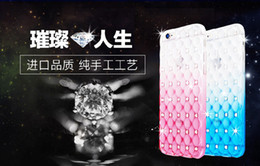 Luxury Gradient Color Rhinestone phonr cases for iphone 5 5s 6 6s 6Plus 6sPlus High quality Diamond Grid phone back cover