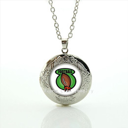 Fresh green and brown rugby football jewelry locket necklace sport rugby picture jewelry gift for children and kids NF078