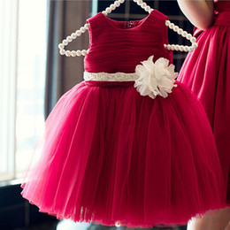 Pageant Dresses For Girls Red Sleeveless Flower Girl Dresses With White Big Flower Belt Kids Ball Gowns Wedding Dress 1-10 Year