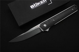 Wholesale Boker Newest Kwaiken ball bearing Flipper folding knife VG10 blade Titanium carbon fiber handle camping hunting knife EDC tool