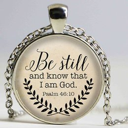 Wholesale Bible Verse Necklace Be Still and Know That I am God Pendant Psalm Quote Jewelry Your Choice of Finish fashion Jewelry
