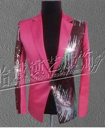 Men's fashion personality costumes nightclub singer star stage performance clothing red sequins suit jacket and trousers S - 4xl